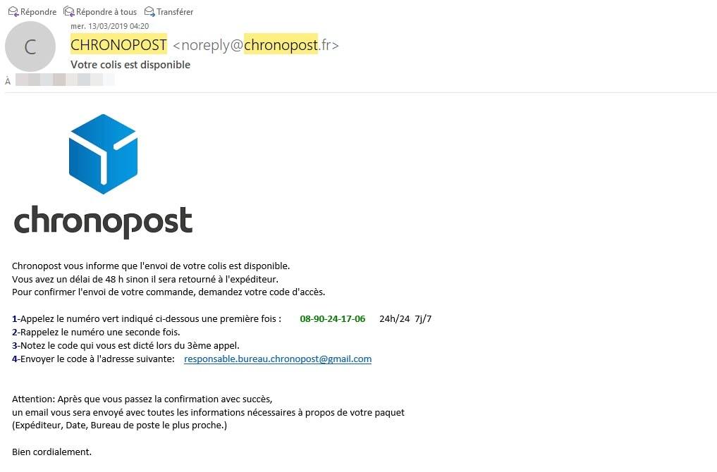 Mail frauduleux Chronopost : la nouvelle arnaque du Web