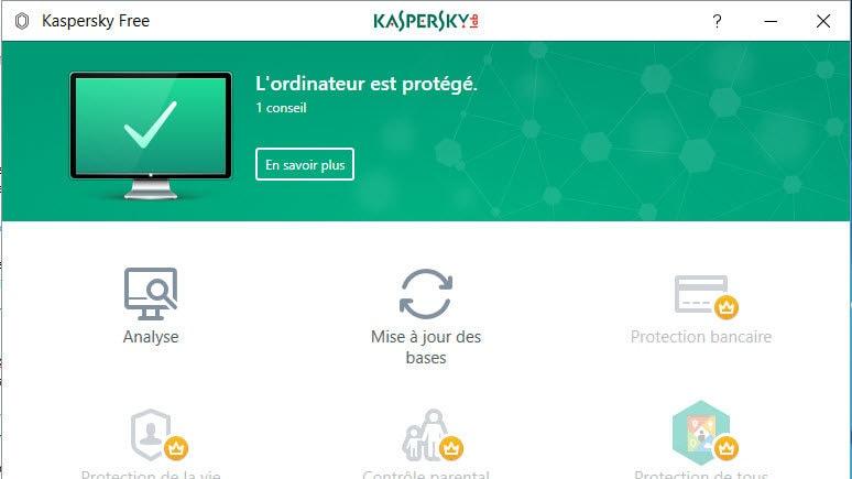Test antivirus gratuit : Kaspersky Free
