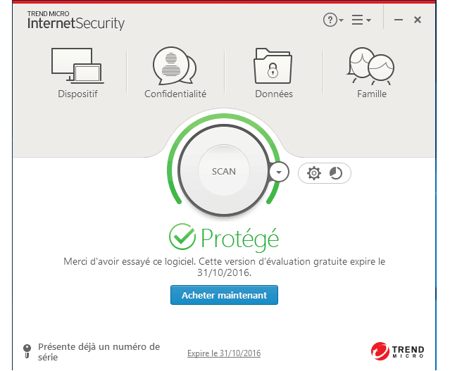 Test antivirus : Trend Micro Internet Security 2017