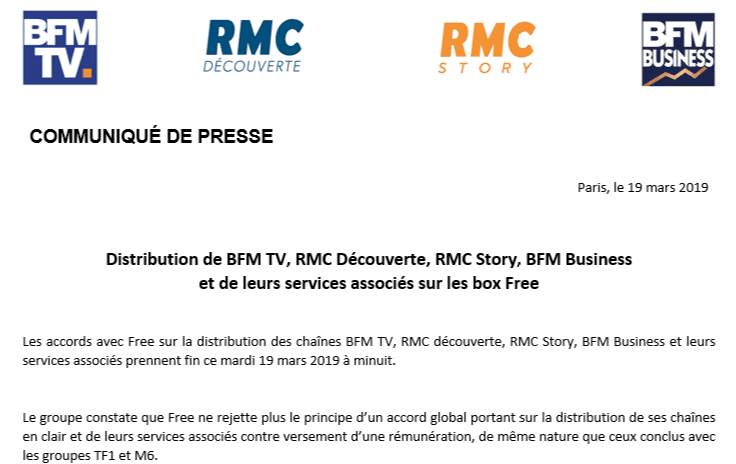 Abonnés Free, voici comment regarder BFMTV et RMC après ce soir minuit