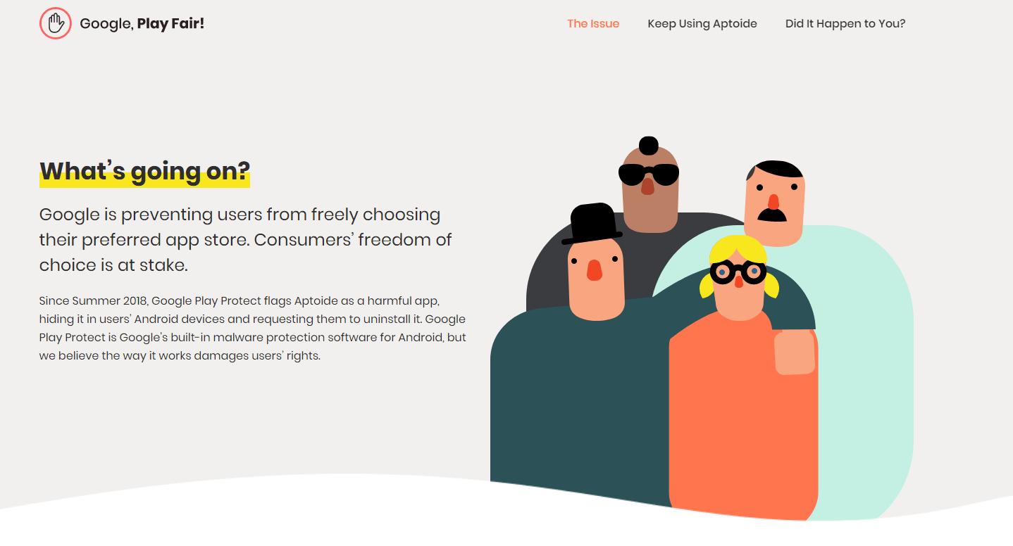 Aptoide lance un site pour critiquer la position dominante de Google