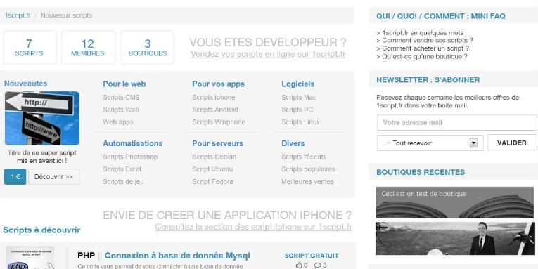 1script.fr ou la plateforme de vente de scripts
