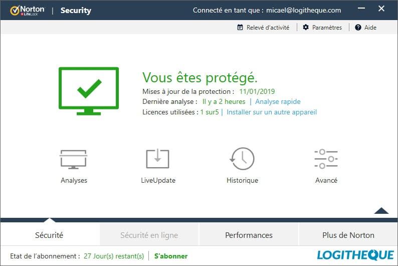 Test antivirus : Norton Security Deluxe 2019