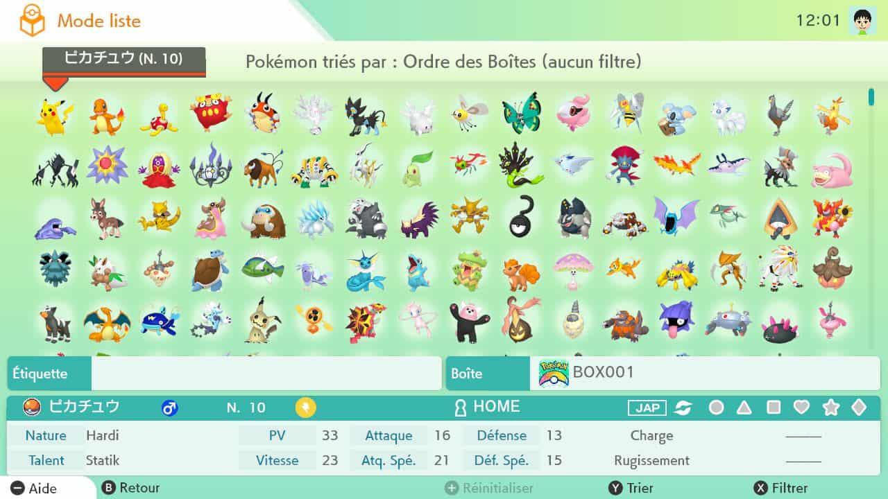 L'application Pokémon HOME pour gérer ses créatures est disponible