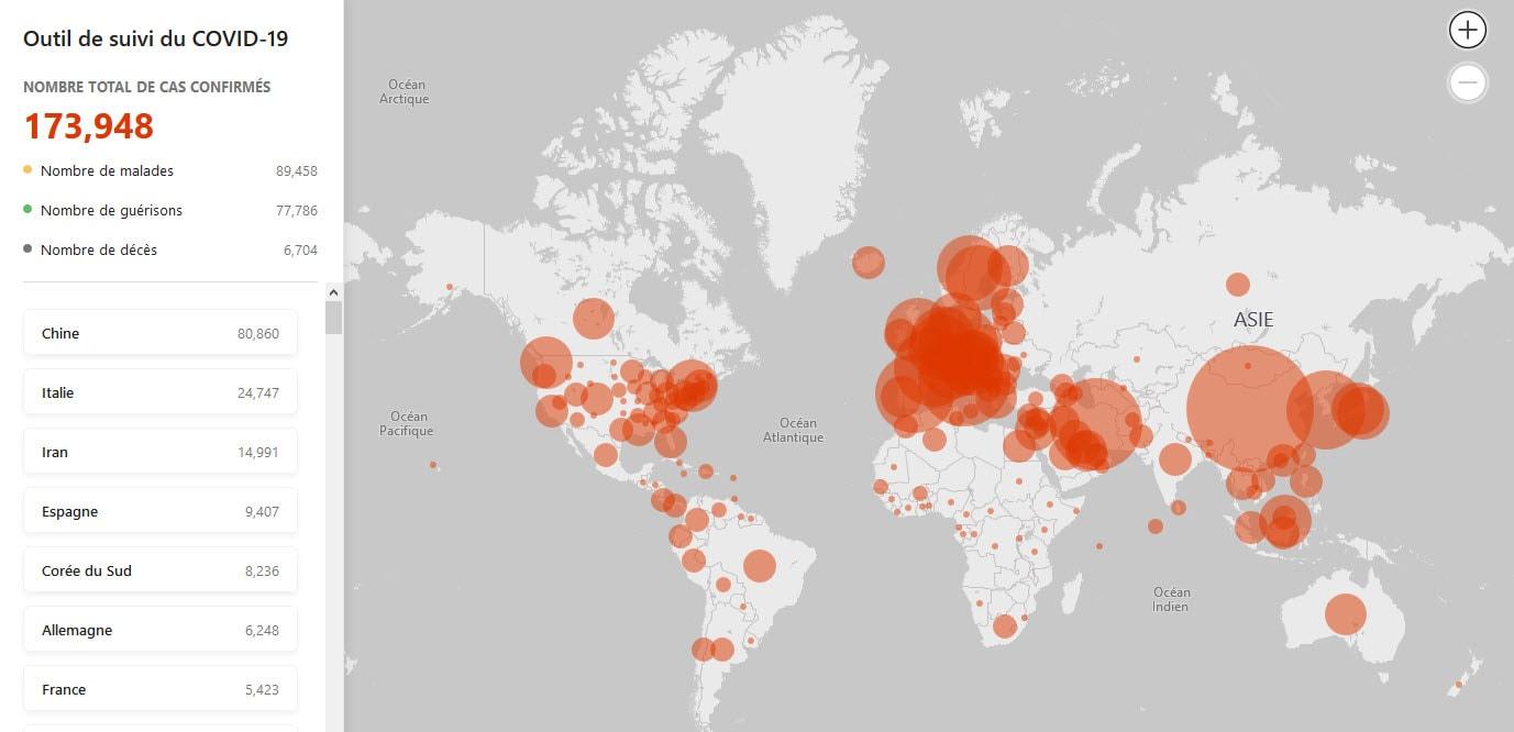 Microsoft dévoile une carte interactive pour suivre l'évolution de la pandémie Covid-19