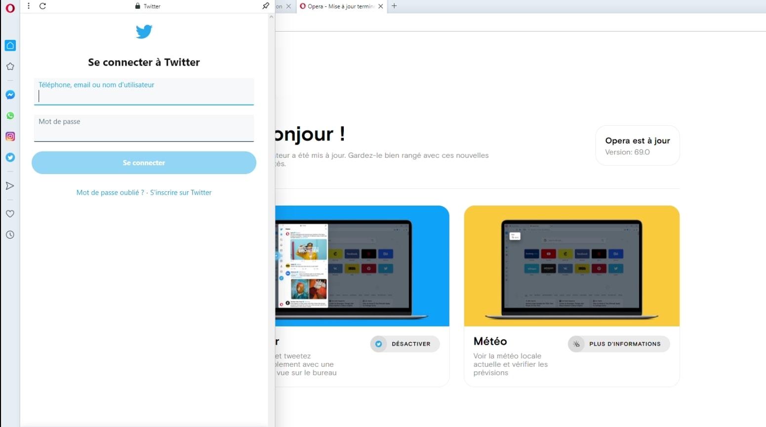 La nouvelle version du navigateur Opera ajoute Twitter dans sa barre d'outils