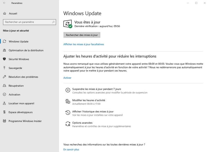 La dernière mise à jour de Windows 10 a détraqué l'historique de fichiers