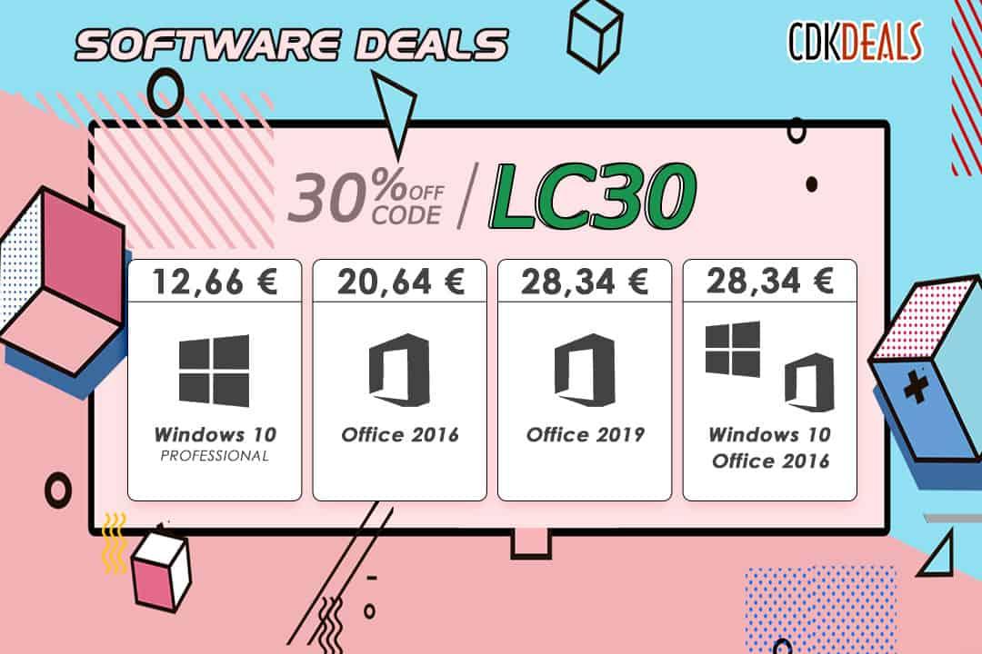 Des promos à la clé avec CDKDeals : Windows 10 à 12 €, Office 2016 à 20 €...