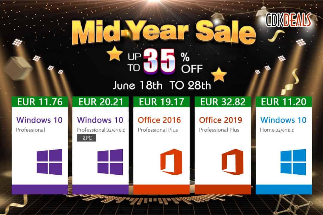 Promotion de la mi-année : Obtenez Windows 10 à partir de 11€ seulement