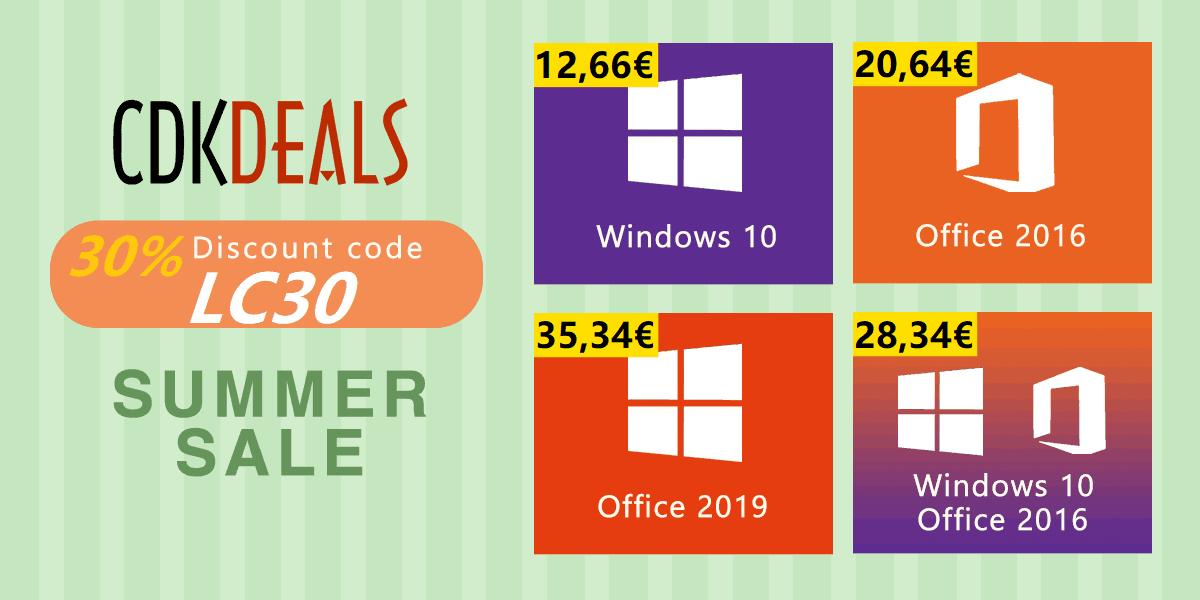 Obtenez Windows 10 pour seulement 12€, Office 2016 pour 20 €, et plus d'offres encore!