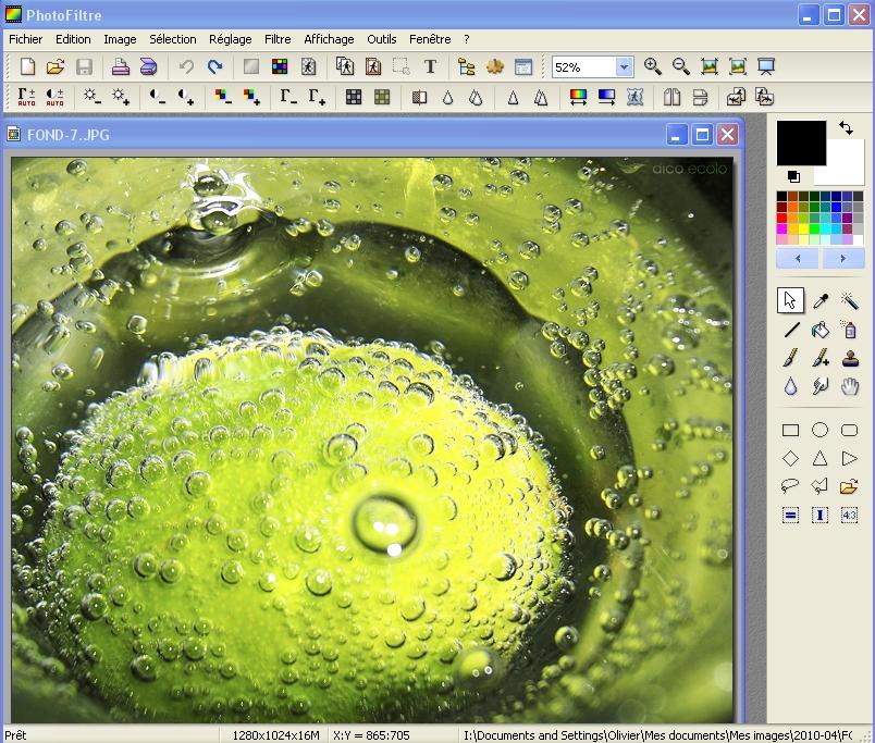 Capture d'écran PhotoFiltre