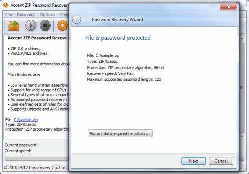 Capture d'écran Accent ZIP Password Recovery