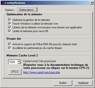 Capture d'écran ConfigWindows