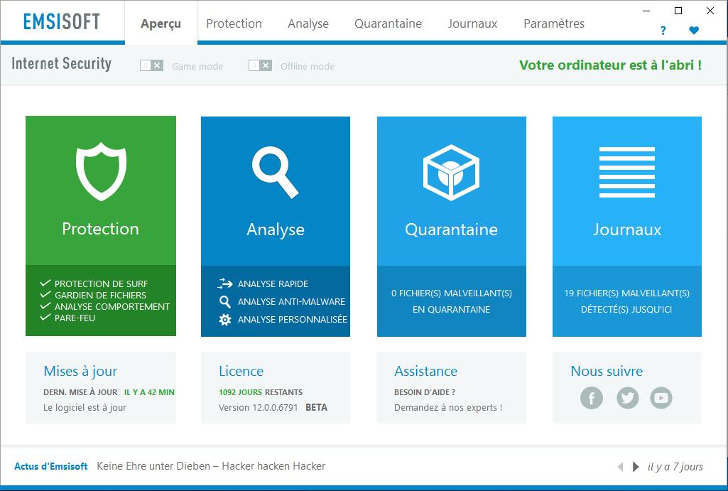 Capture d'écran Emsisoft Internet Security