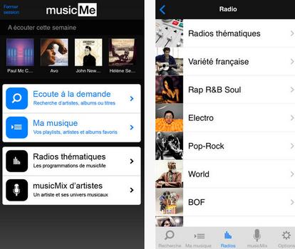 Capture d'écran musicMe iOS