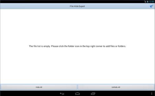 Capture d'écran Masquer les fichiers