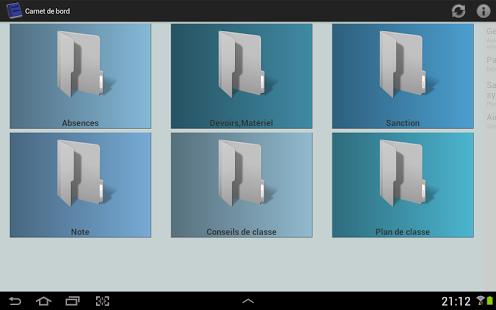 Capture d'écran Carnet de bord Instit demo