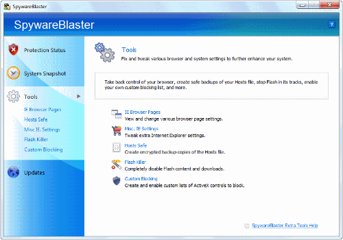 Capture d'écran SpywareBlaster