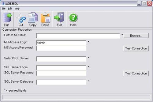 Capture d'écran MDB2SQL Professional