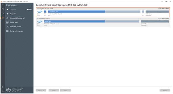 Capture d'écran Paragon Partition Manager