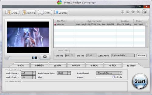 Capture d'écran WinX Video Converter