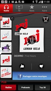 Capture d'écran NRJ Léman Smartphone
