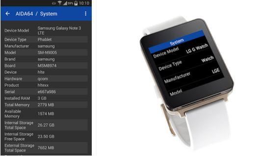 Capture d'écran AIDA64 Android