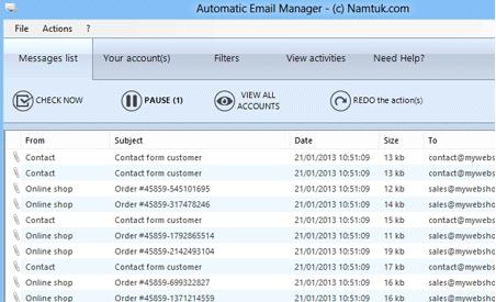 Capture d'écran Automatic Email Manager