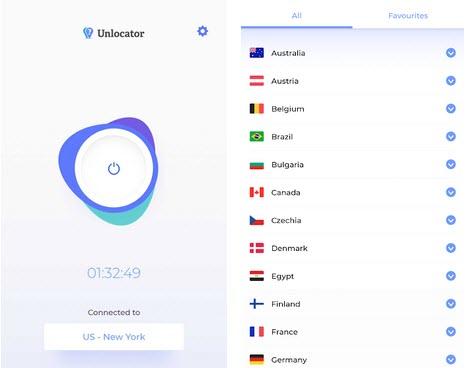 Capture d'écran Unlocator VPN Android