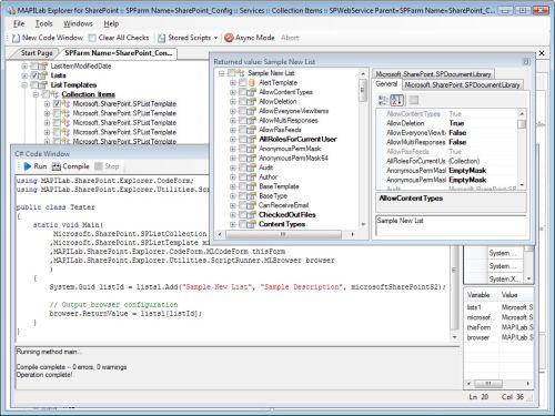 Capture d'écran MAPILab Explorer for SharePoint