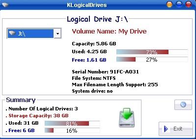 Capture d'écran KLogicalDrives