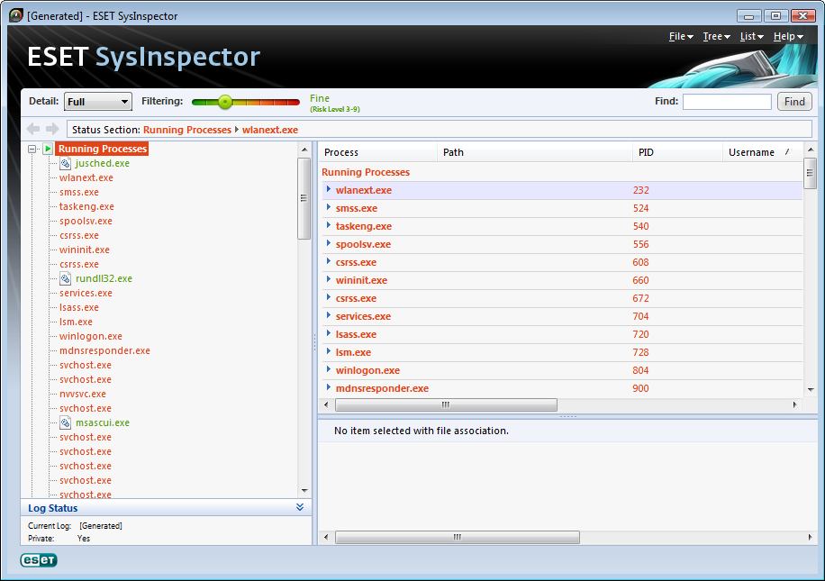 Capture d'écran ESET SysInspector