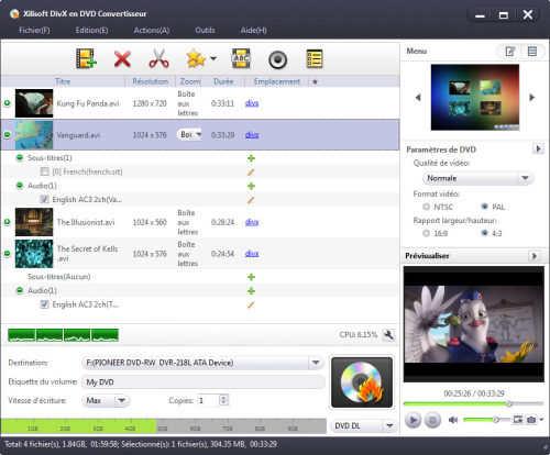 Capture d'écran Xilisoft DivX en DVD Convertisseur