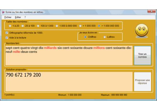 Capture d'écran Nombre en chiffres ou en lettres