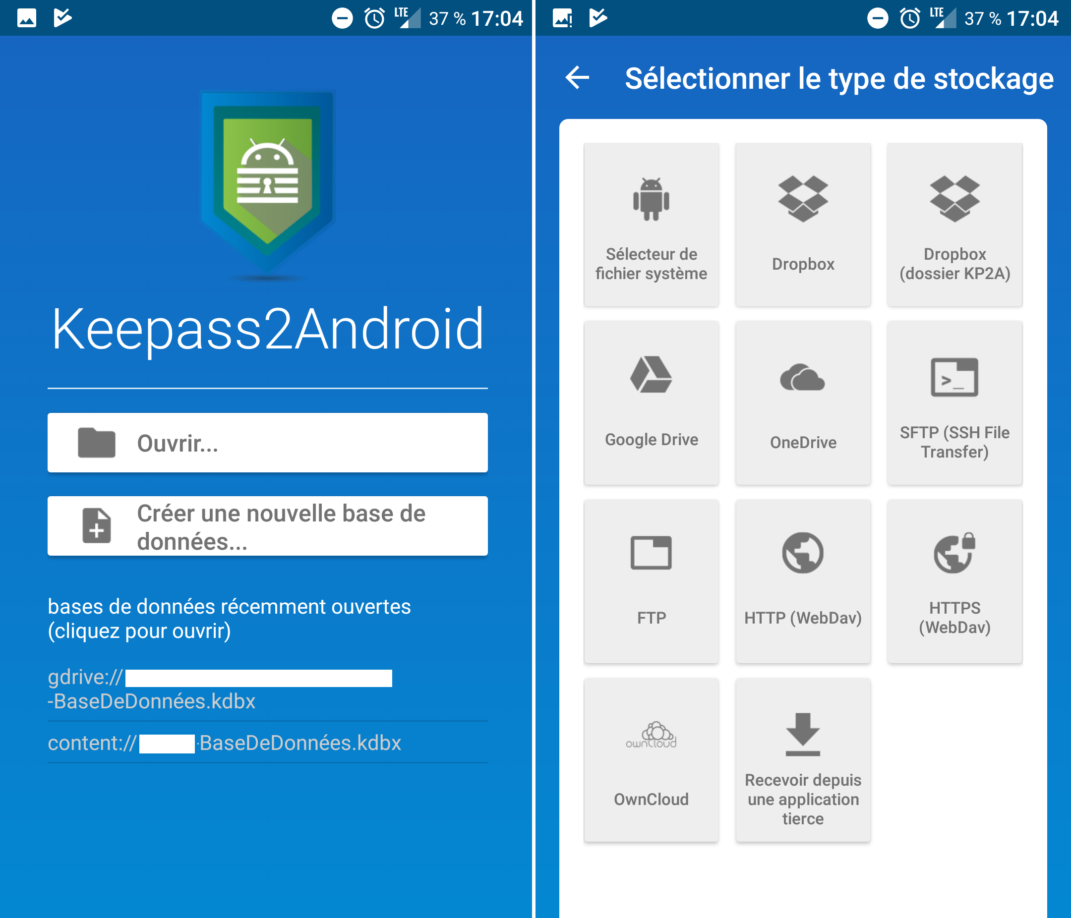 Capture d'écran Keepass2Android
