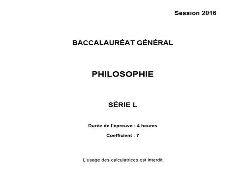 Capture d'écran Bac Philosophie 2016 Série S Pondichéry