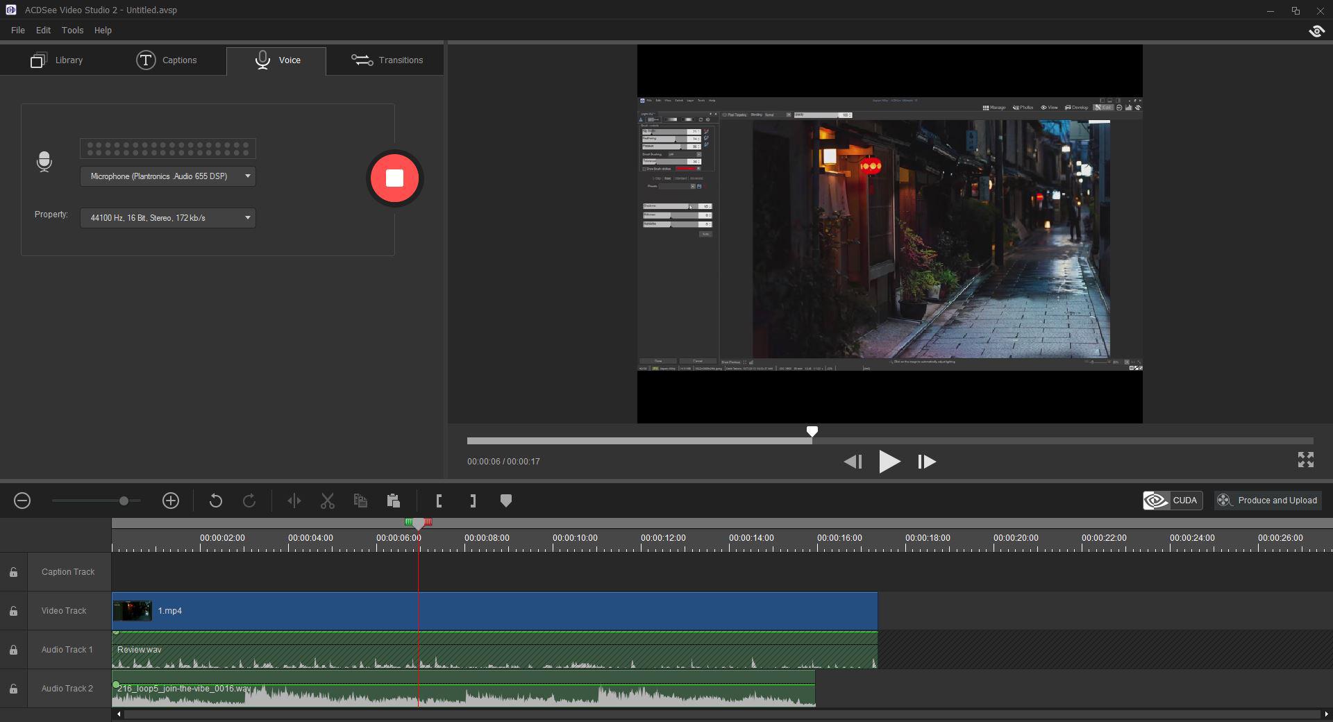 Capture d'écran ACDSee Video Studio