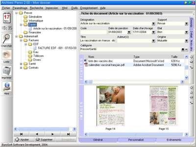 Capture d'écran Archives Perso
