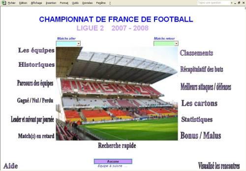 Capture d'écran Ligue2 2007-2008