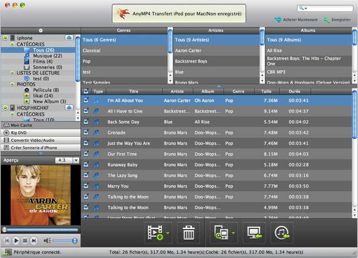 Capture d'écran AnyMP4 Transfert iPod pour Mac