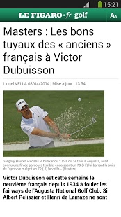 Capture d'écran Figaro Golf