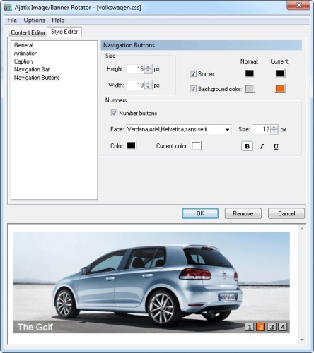 Capture d'écran Image / Banner Rotator Dreamweaver Extension