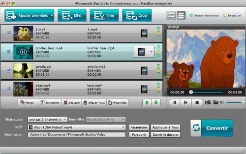 Capture d'écran 4Videosoft iPad Vidéo Convertisseur pour Mac