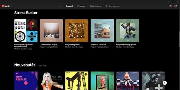 Capture d'écran YouTube Music Desktop App