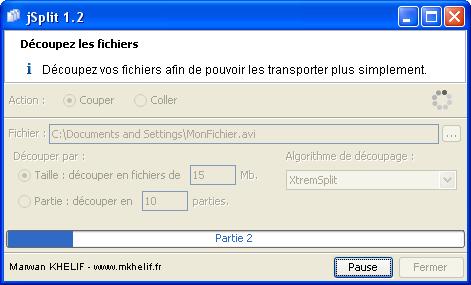 Capture d'écran JSplit