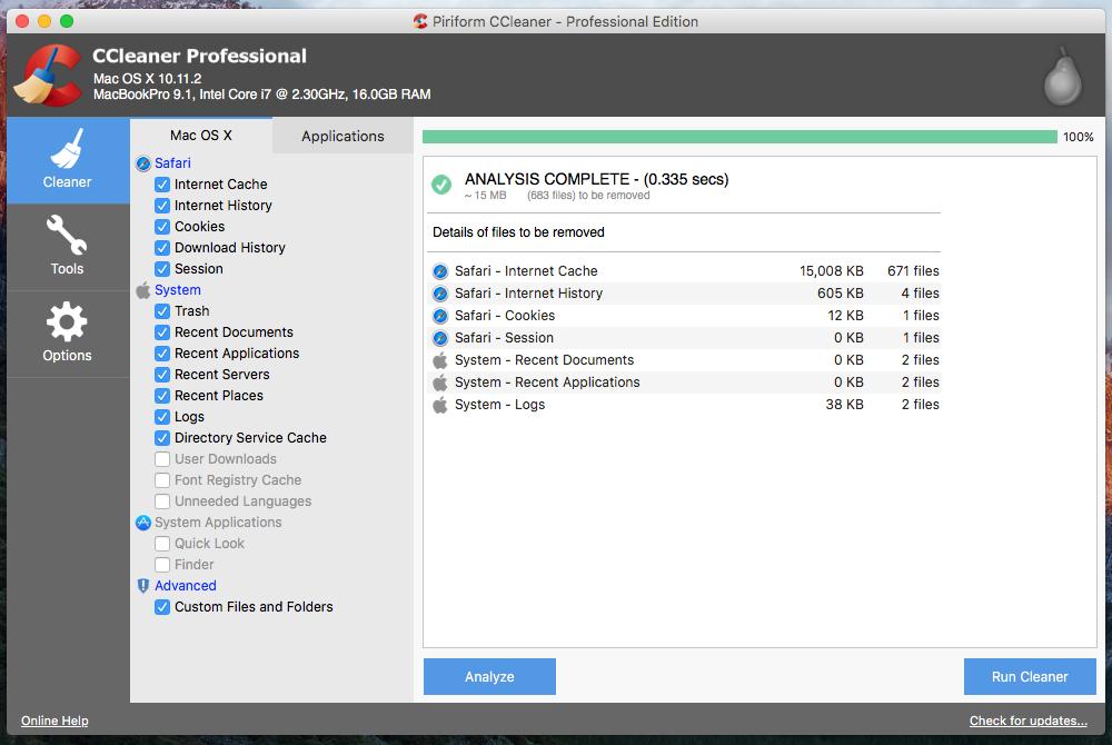 Capture d'écran CCleaner pour Mac