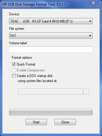 Capture d'écran HP USB Disk Storage Format