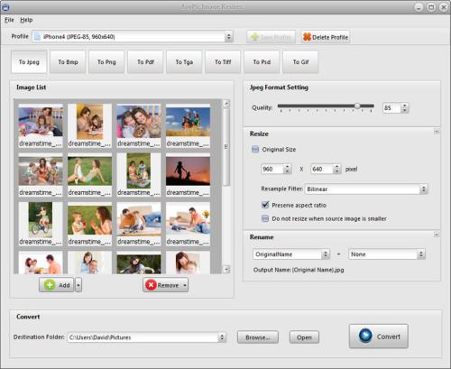 Capture d'écran AnyPic Image Resizer Free