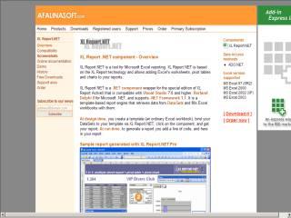 Capture d'écran AfalinaSoft XL Report.NET