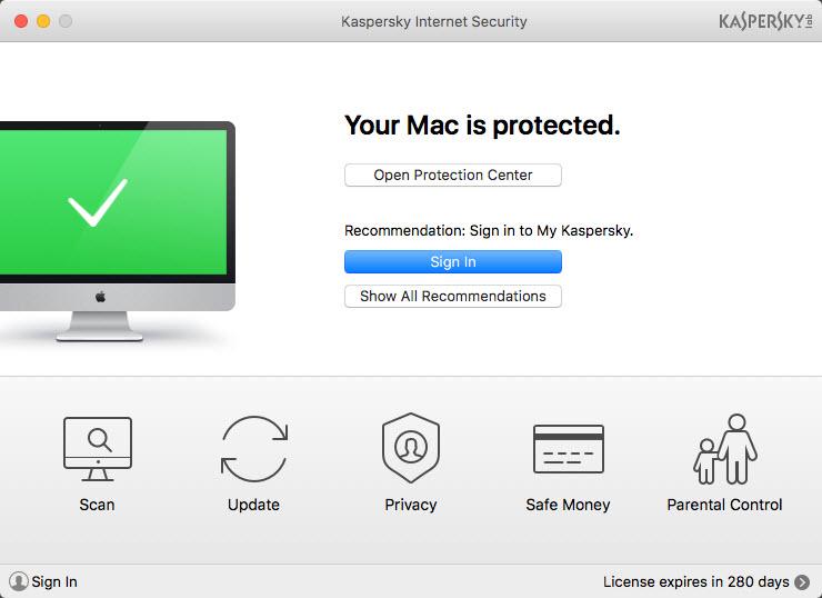 Capture d'écran Kaspersky Internet Security for Mac